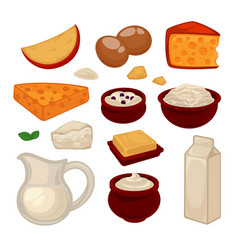 Dairy products colorful set isolated on vector