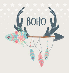 Deer horns with flowers feathers and arrows boho vector