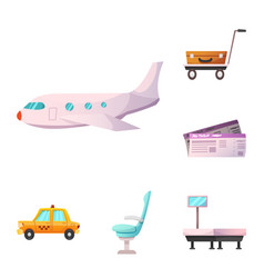 design of airport and airplane icon set of vector image