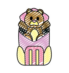 Doodle bear teddy toy inside backpack style vector
