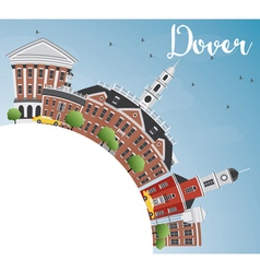 Dover Skyline with Color Buildings Blue Sky vector image