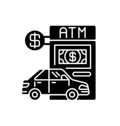 Drive through atm black glyph icon vector