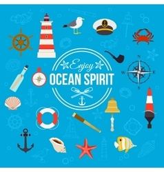 Enjoy ocean spirit Summer nautical typographical vector