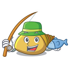Fishing mollusk shell mascot cartoon vector