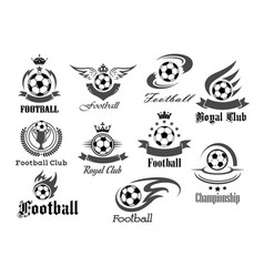 Football ball icons for royal soccer vector