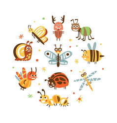 funny insects in circular shape banner template vector image