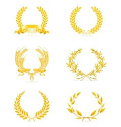 Golden wreath set vector image