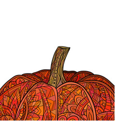 greeting card with colored doodle of pumpkin with vector image