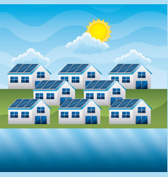 group houses with panel solar river cloud sun vector image