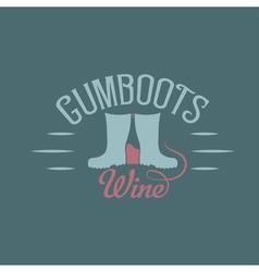 gumboots wine retro design negative space concept vector image