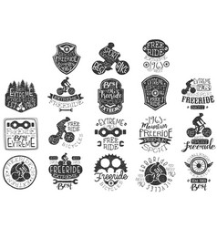 Hand drawn black logos set for freeride theme vector