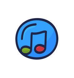 hand drawn cd with music note doodle icon vector image