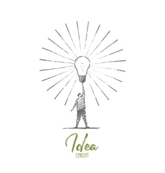 Hand drawn man touching big bright light bulb vector