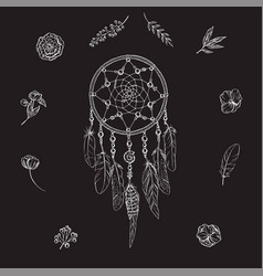 Hand drawn ornate dreamcatcher with flowers vector
