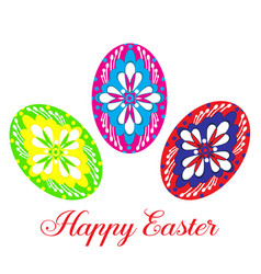 Happy easter eggs flat isolated vector