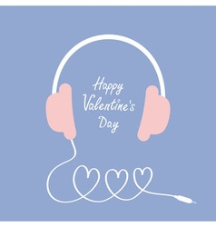 Happy Valentines Day Love card Headphones and cord vector image