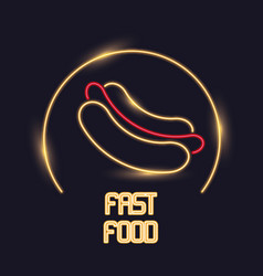 Hot dog neon lights icon vector