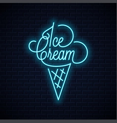 Ice cream in waffle cone neon sign vector
