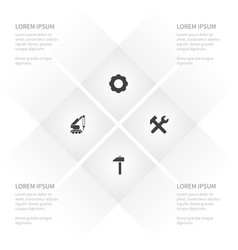 icon construction set of wrench gear vector image