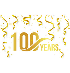isolated golden color number 100 with word years vector image