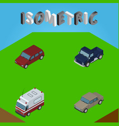 Isometric car set of suv first-aid car and other vector