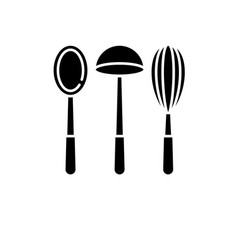 kitchen utencils black icon sign on vector image