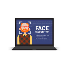 laptop computer scanning user man face vector image
