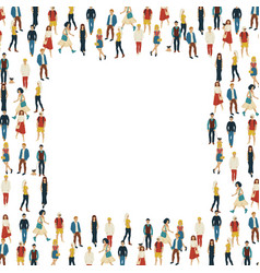 large group of people in the shape of square vector image