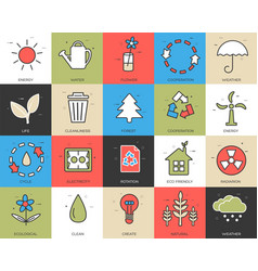 line icons set of eco collection concept modern vector image