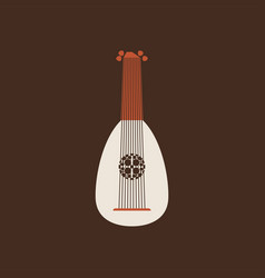 Lute flat icon folk music instrument vector
