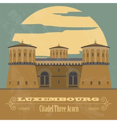 Luxembourg landmarks Retro styled image vector