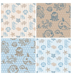 Marine life Background Collection vector image vector image