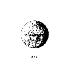 Mars planet image on white background hand drawn vector