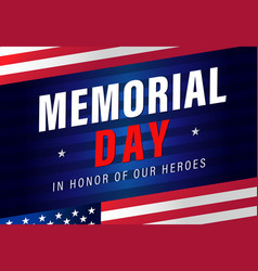 memorial day usa flag stripes banner vector image