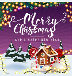 merry christmas and happy new year purple vector image
