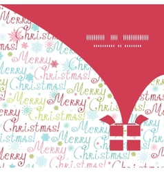 Merry christmas text gift box silhouette pattern vector