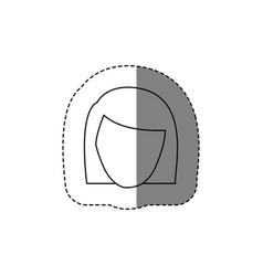 Monochrome contour sticker with head of woman vector