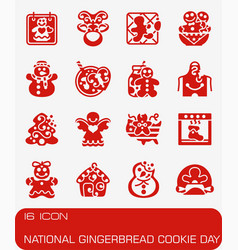 national gingerbread cookie day icon set vector image