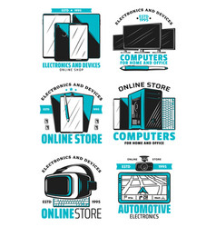 online store devices and electronics icons vector image