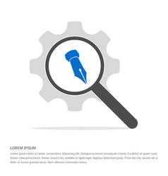 pen nib icon search glass with gear symbol icon vector image
