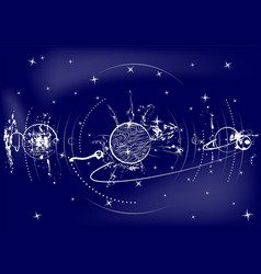 Planets against sky vector