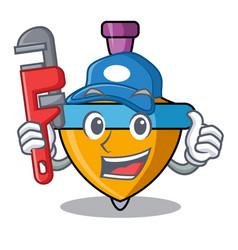 Plumber spinning top mascot cartoon vector