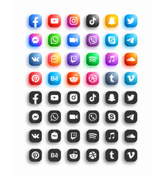 Popular social media network modern 3d rounded vector
