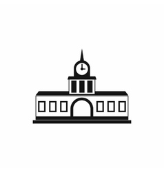 Railway station building icon simple style vector image