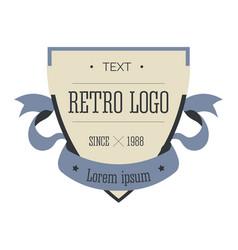 retro logo shield and ribbon corporate identity vector image