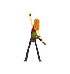 Rocker with long hair standing with green electric vector