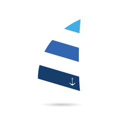 sail icon blue vector image