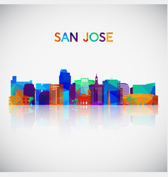san jose skyline silhouette in colorful geometric vector image