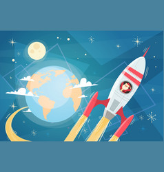 Santa claus flying in space rocket over earth vector