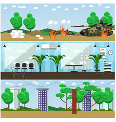 Set military interior posters banners vector